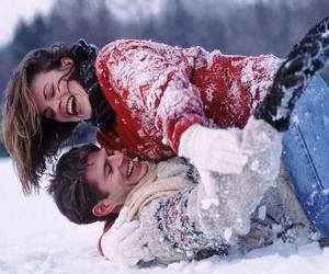 love, couple, and snow image