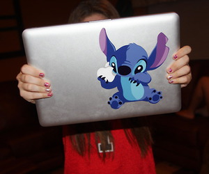 stitch, apple, and blue image