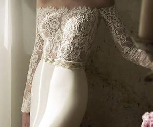 lace, dress, and wedding image