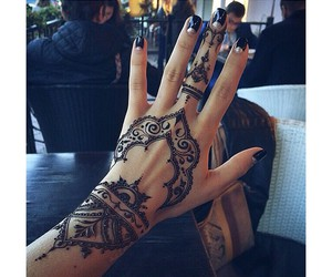 beautiful, henna, and black image