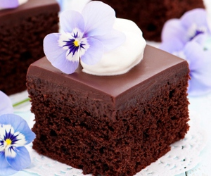 cake, chocolate, and flowers image