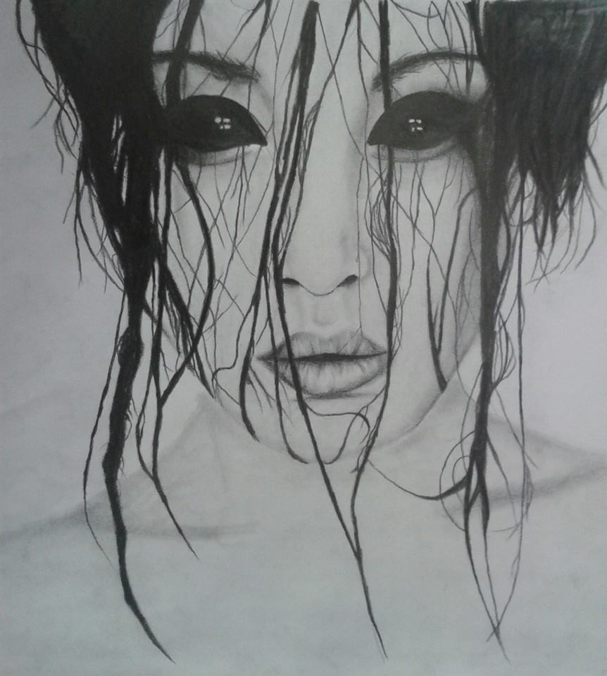 my drawing of creepy girl photograph on we heart it