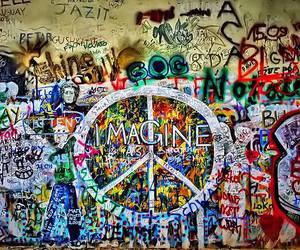 imagine, peace, and graffiti image