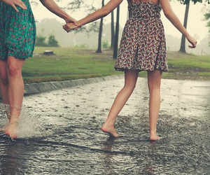 barefoot, rain, and dance image