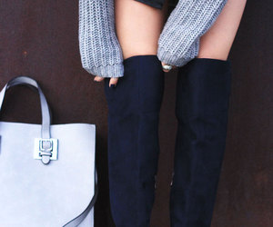 winter fashion, grey sweater, and over the knee boots image