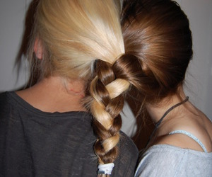blonde, hair, and brunette and blonde image