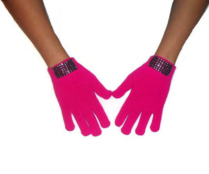 bling, pink, and gloves image