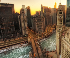 chicago, city, and amanecer image