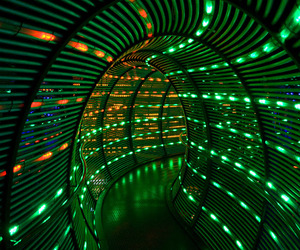 light, green, and tunnel image