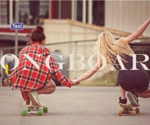 girl, longboard, and friends image
