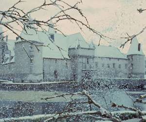 castle, film, and snow image
