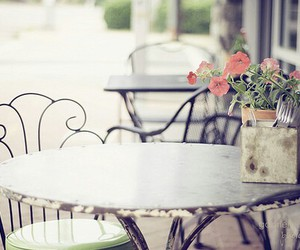 flowers, table, and chair image