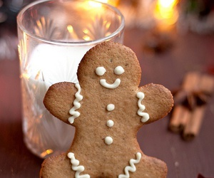 christmas, milk, and gingerbread image