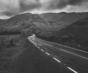 landscape, road, and black and white image