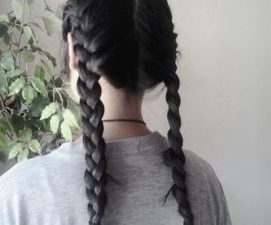 black hair, grunge, and braids image