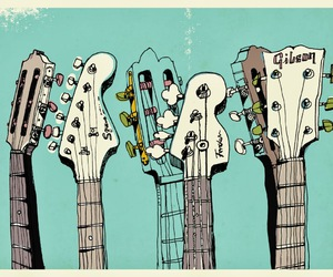 guitar, illustration, and music image