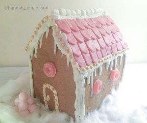 christmas, gingerbread house, and pink image