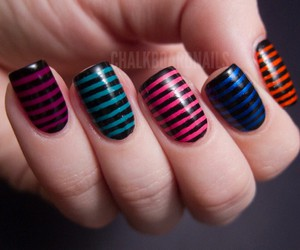 nails, nail art, and stripes image