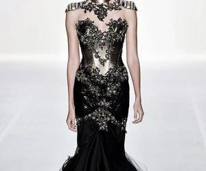 black, corset, and dress image