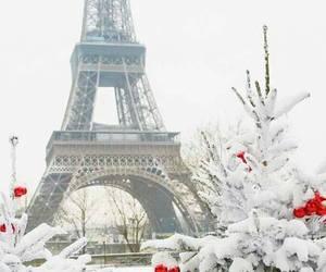 paris, snow, and christmas image