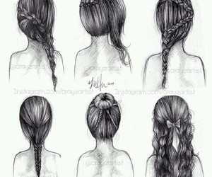 braid, drawing, and chignon image