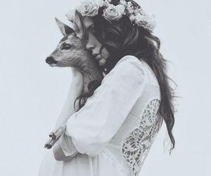 girl, animal, and flowers image