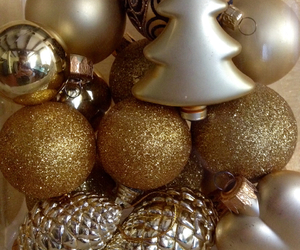 christmas tree, gold, and natale image