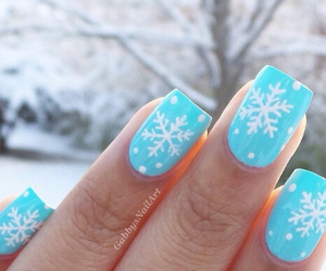 nails, blue, and snow image