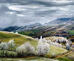 autumn, winter, and clouds image