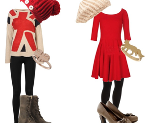 outfit, dress, and red image