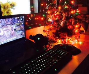 christmas tree, gaming, and headset image