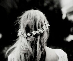 black and white, flower crown, and hair image