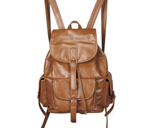 bag, brown, and drawstring image