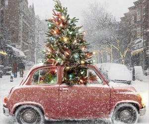 christmas, snow, and car image
