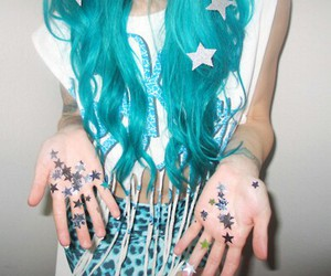 stars, hair, and blue image