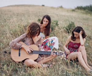 girl, guitar, and friends image