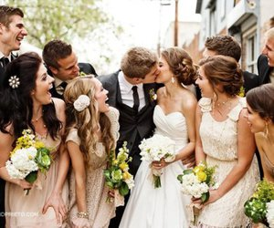 beautiful, bride, and laughing image