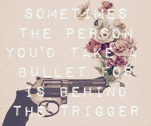 bullet, flowers, and gun image