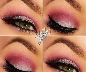 makeup, pink, and gliters image