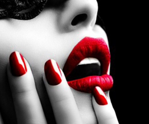lips, red, and nails image