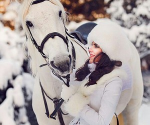 horse, snow, and love image