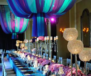 wedding, purple, and blue image