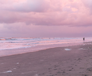pink, beach, and sky image