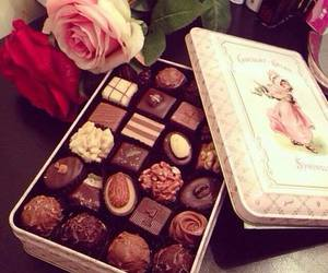 chocolate, rose, and flowers image