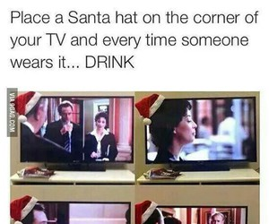 christmas, funny, and drink image
