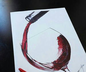 drawing, glass, and wine image