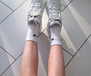 shoes, white, and nike image