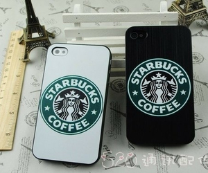 starbucks, iphone, and coffee image