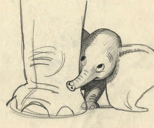 baby, drawing, and dumbo image