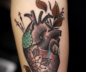 anatomy, heart tattoo, and ink image